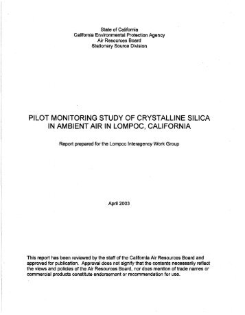 Pilot Monitoring Study of Crystalline Silica in Ambiant Air in Lompoc ...