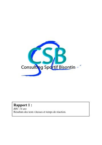 Rapport 1 - Consulting Sportif Bisontin