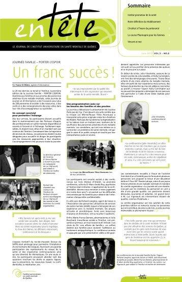 En tête No 6 – Juin 2013 / Journal de l'Institut universitaire en santé ...