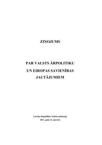 ziņojums par valsts ārpolitiku un eiropas savienības jautājumiem