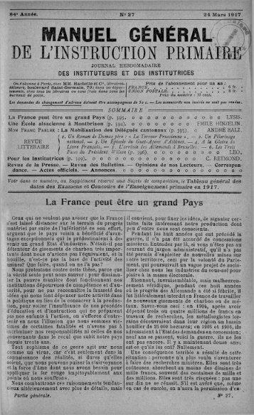 MANUEL GÉNÉRAL; ( j n DE L'INSTRUCTION PRIMAIRE - INRP