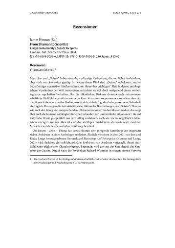 Rezensionen - Gesellschaft für Anomalistik eV