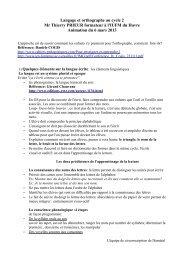 Langage et orthographe au cycle 2 Mr Thierry PRIEUR formateur à l ...