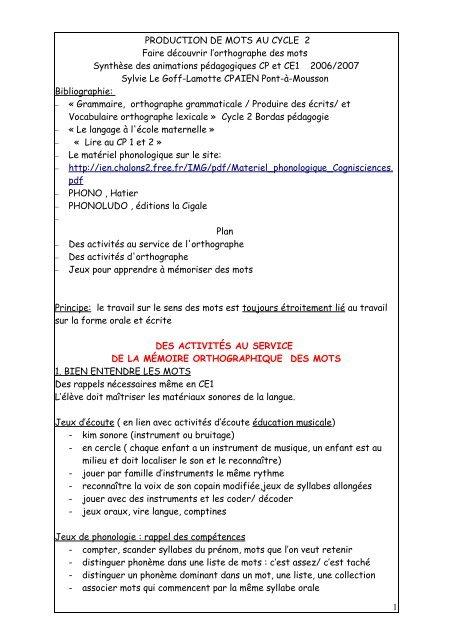 apprendre à orthographier - Académie de Nancy-Metz