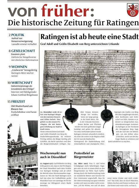 Historische Zeitung für die Stadt Ratingen