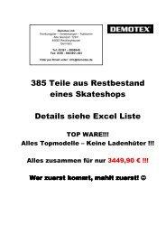 385 Teile aus Restbestand eines Skateshops Details siehe Excel Liste