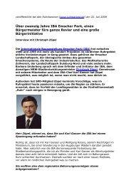 Christoph Zöpel über zwanzig Jahre IBA Emscher Park, einen ...