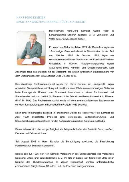 Rechtsanwalt Hans-Jörg Esmeier wurde 1960 in Lengerich/Kreis ...