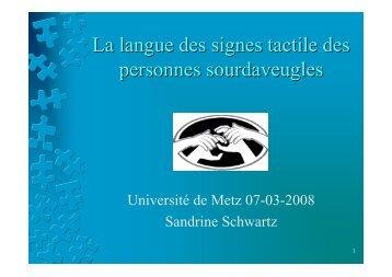 La langue des signes tactile des personnes sourdaveugles