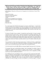 Discours de Jacques Chirac sur l'appel du 18 juin et le rô–e du ...