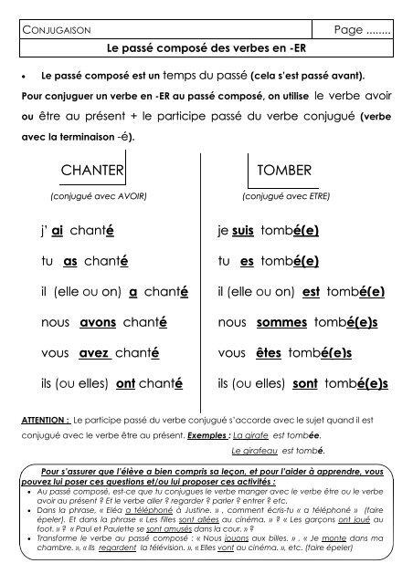 Classeur Outils Conj Conjuguer Les Verbes En Er Au Pass
