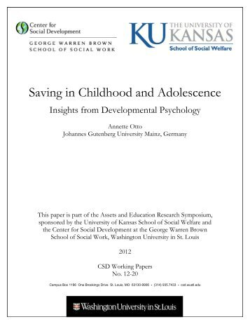 Saving in Childhood and Adolescence - Center for Social ...