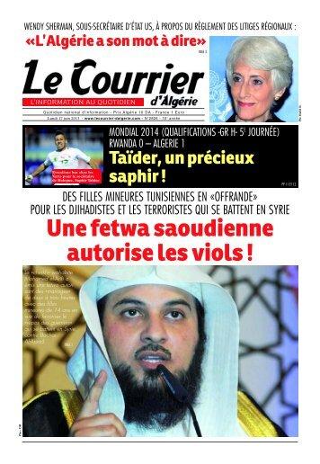 Numéro° 2826 du lundi 17 juin 2013 - Le Courrier d'Algérie