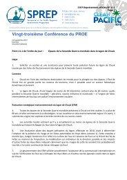 Vingt-troisième Conférence du PROE - SPREP