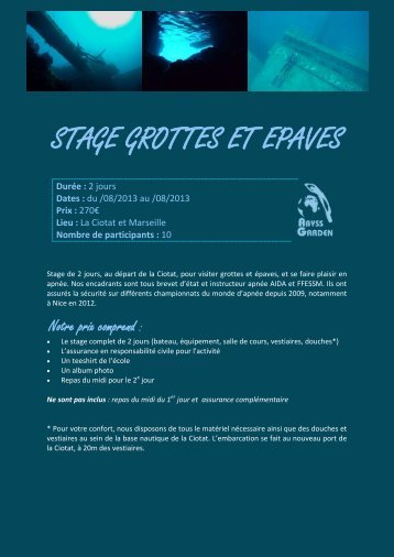 STAGE GROTTES ET EPAVES - Abyss Garden