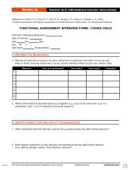 functional assessment interview form—young child - Center on the ...