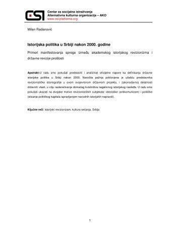 radanovic-milan-istorijska politika u srbiji.pdf - Centar za socijalna ...