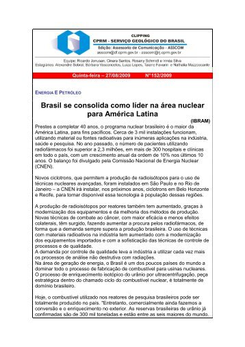 Brasil se consolida como líder na área nuclear para ... - CPRM