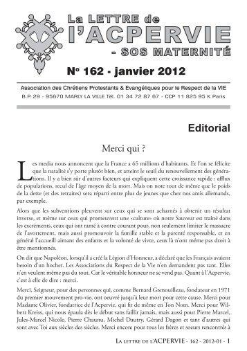 No 162 - janvier 2012 Editorial - ACPERVIE