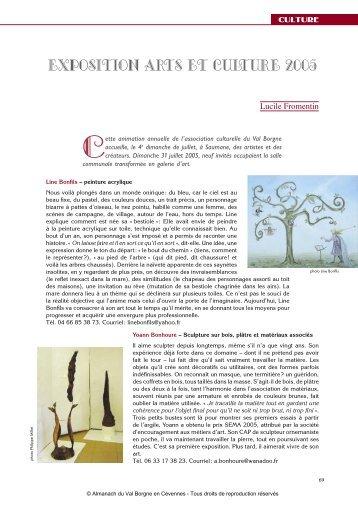 Exposition Arts et culture 2005 - Almanach du Val Borgne
