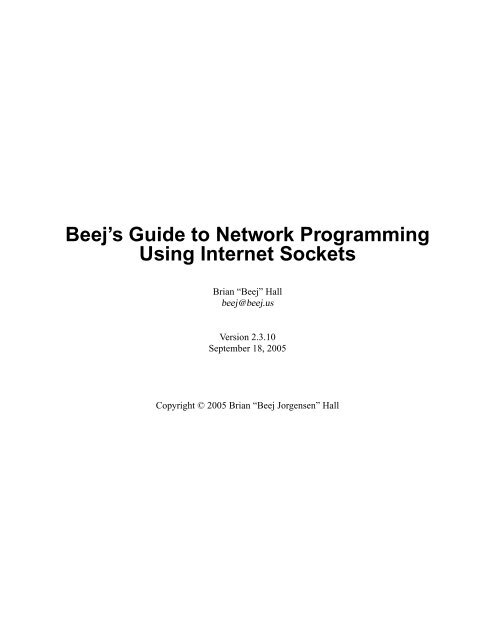 Beejs Guide To Network Programming Pdf