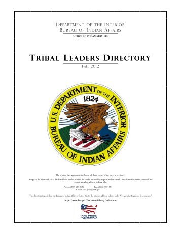 TRIBAL LEADERS DIRECTORY - Indian Affairs