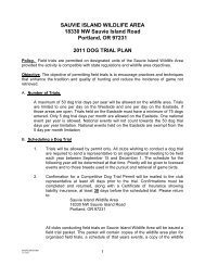 2011 Sauvie Island Dog Trial Plan - Oregon Department of Fish and ...