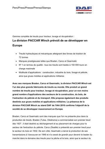 La division PACCAR Winch prévoit de se développer en ... - Daf.com