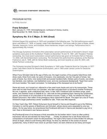 PROGRAM NOTES Symphony No. 9 in C Major - Chicago ...