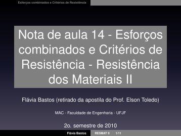 Nota de aula 14 - Esforços combinados e Critérios de Resistência ...