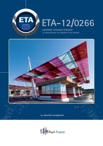 ETA-12/0266 - PAULI France