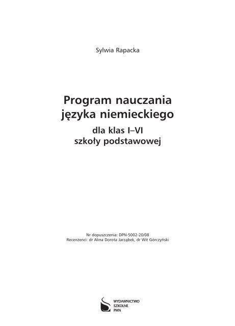 Program Nauczania Jzyka Niemieckiego Wydawnictwo Szkolne Pwn