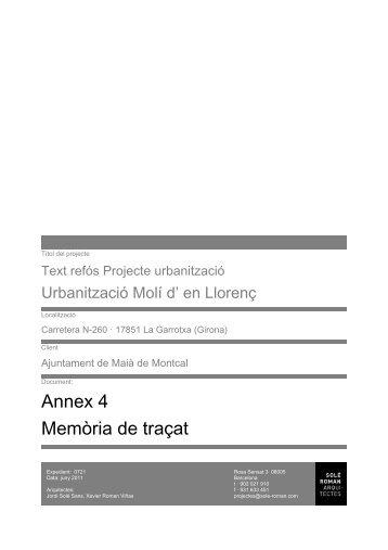 Annex 4 Memòria de traçat - Diputació de Girona