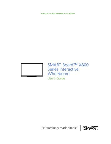 smart interactive whiteboard 800 series for education granteq rh yumpu com