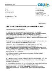 Wie ist der Stand beim Biomasse-Heizkraftwerk? - CSU Neumarkt