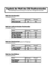 Ergebnis der Wahl des CSU-Stadtvorstandes - CSU Neumarkt