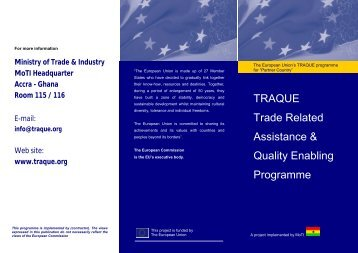TRAQUE Trade Related Assistance & Quality Enabling Programme