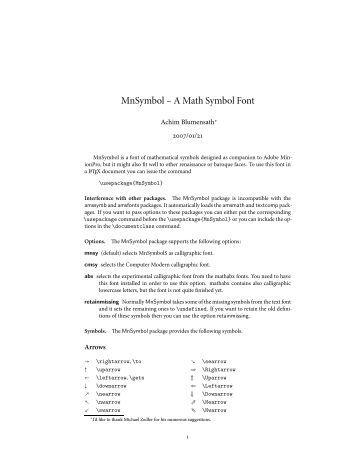 MnSymbol – A Math Symbol Font - CTAN