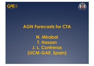 AGN Forecasts for CTA N. Mirabal T. Hassan J. L. Contreras (UCM ...