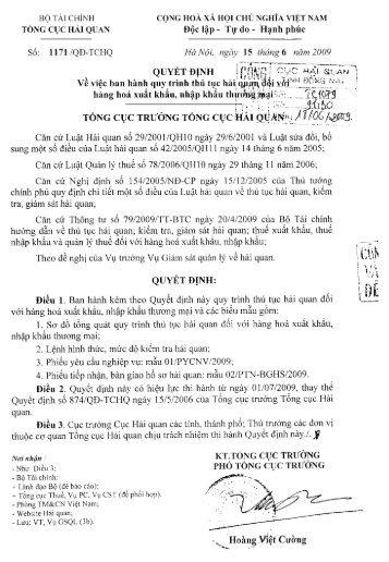 1171/QĐ-TCHQ - Cục Hải quan Đồng Nai