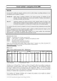 Essai variétal - courgettes d'été 2000