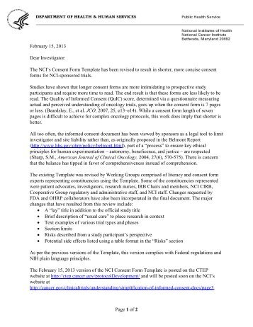 cover letter for nci consent form template cancer therapy