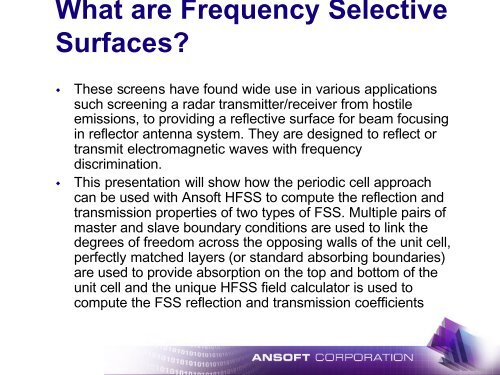 Presentation - Frequency Selective Surfaces