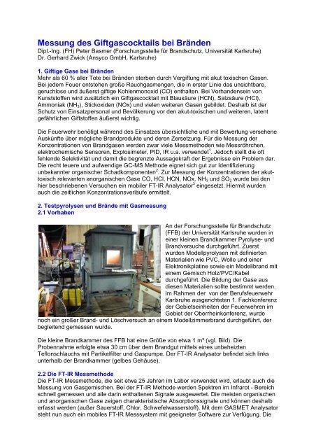 Messung des Giftgascocktails bei Bränden