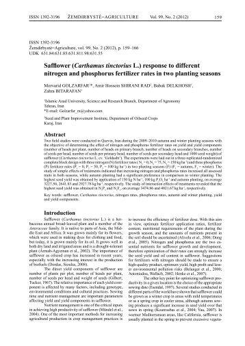 Safflower (Carthamus tinctorius L.) - Lithuanian Institute of Agriculture