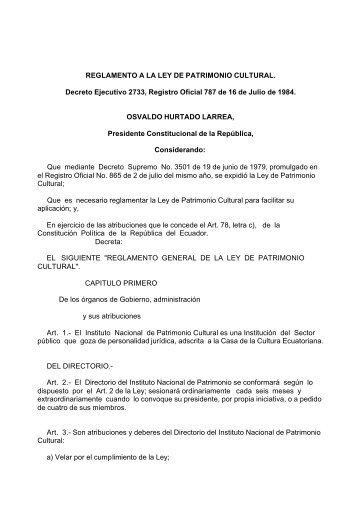 Decreto No. 2733. Reglamento General de la Ley de Patrimonio ...