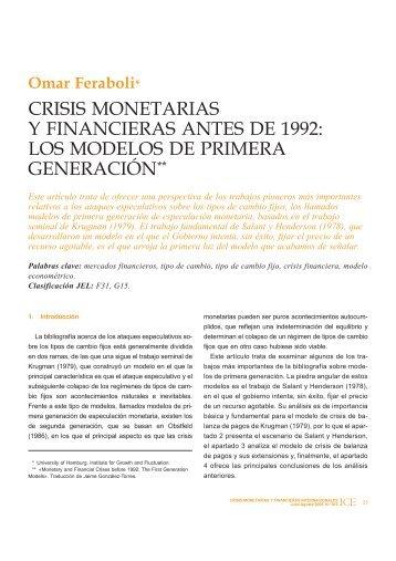 crisis monetarias y financieras antes de 1992: los ... - Revistas ICE