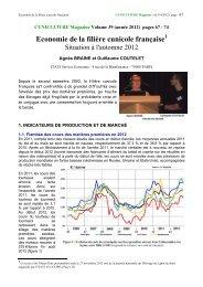 Economie de la filière cunicole française - Association française de ...