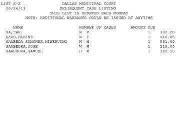 LIST S-Z DALLAS MUNICIPAL COURT 06/24/13 ... - City of Dallas