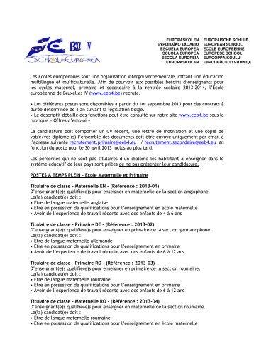 POSTES : Ecole Maternelle, Primaire et Secondaire.